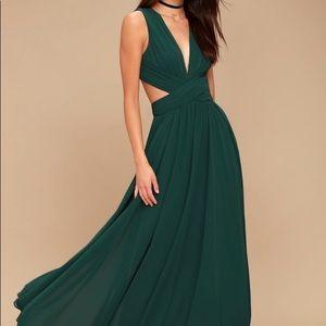 LuLus Green Vivid Cutout Maxi Dress Size Medium